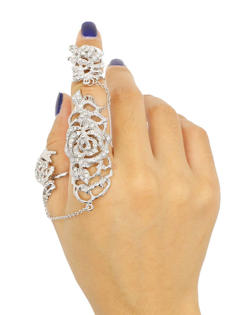 Shop Silver Rhinestone Flower Embellished Chain Linked Ring Pack from choies.com .Free shipping Worldwide.$8.99