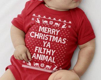 MERRY CHRISTMAS Ya Filthy Animal - Ugly Christmas Onesie - Unisex ...