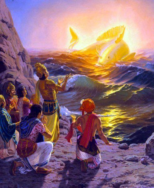 "Vaivasvata Manu Worships Lord Matsya (the ""Noah's Ark"