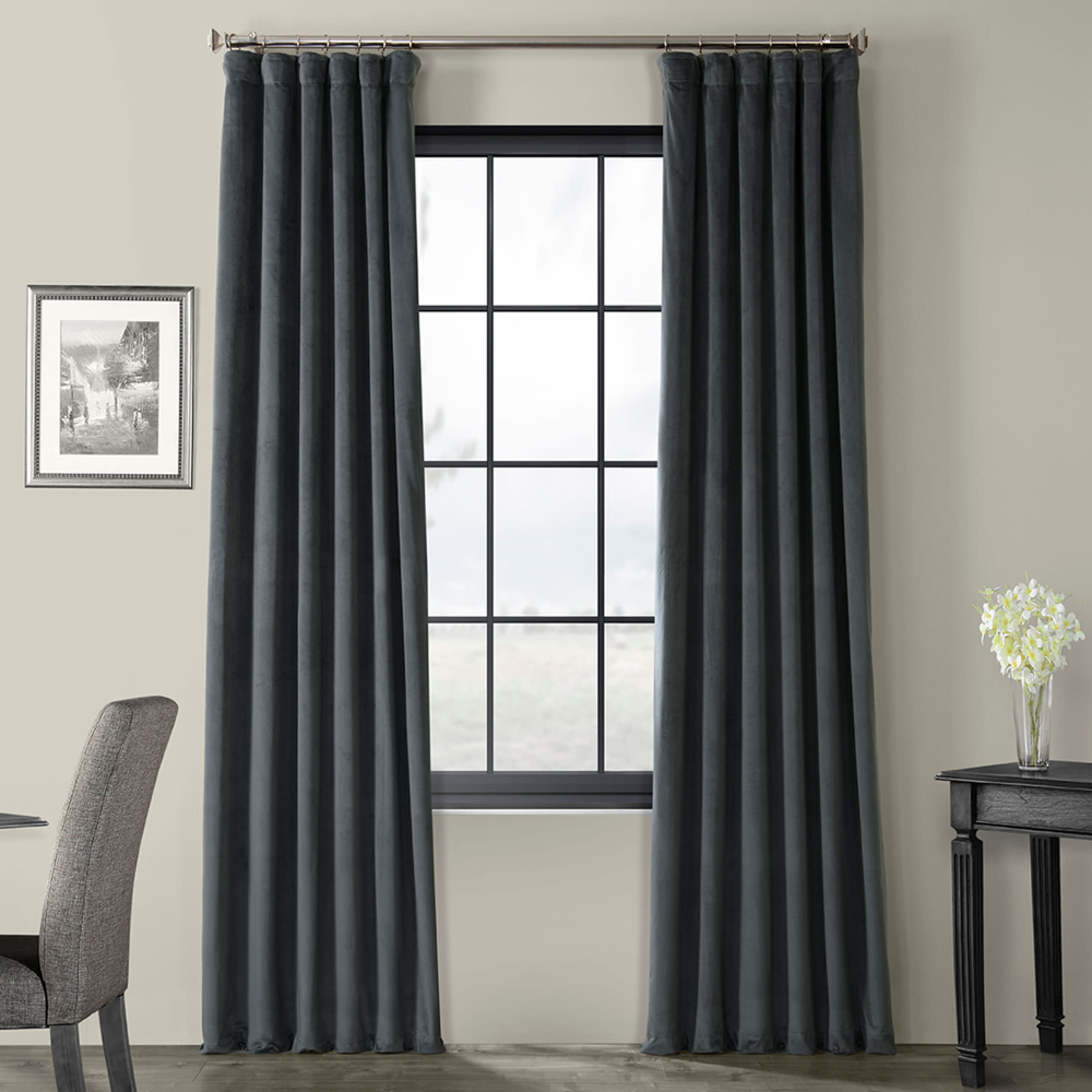 Signature Distance Blue Grey Blackout Velvet Curtain In 2020 Velvet Curtains Half Price Drapes Panel Curtains