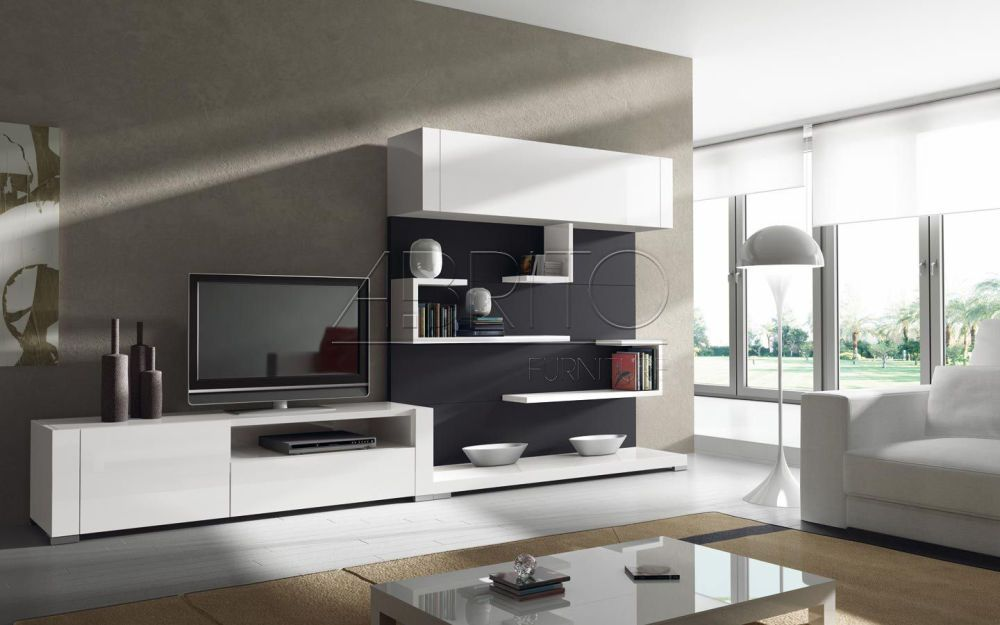 Modern living room interior design tips tv wall unit 05 for Modern cabinets for living room