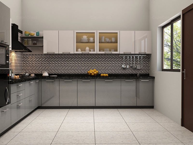Kinawa L-shaped Modular Kitchen Orange & Silver