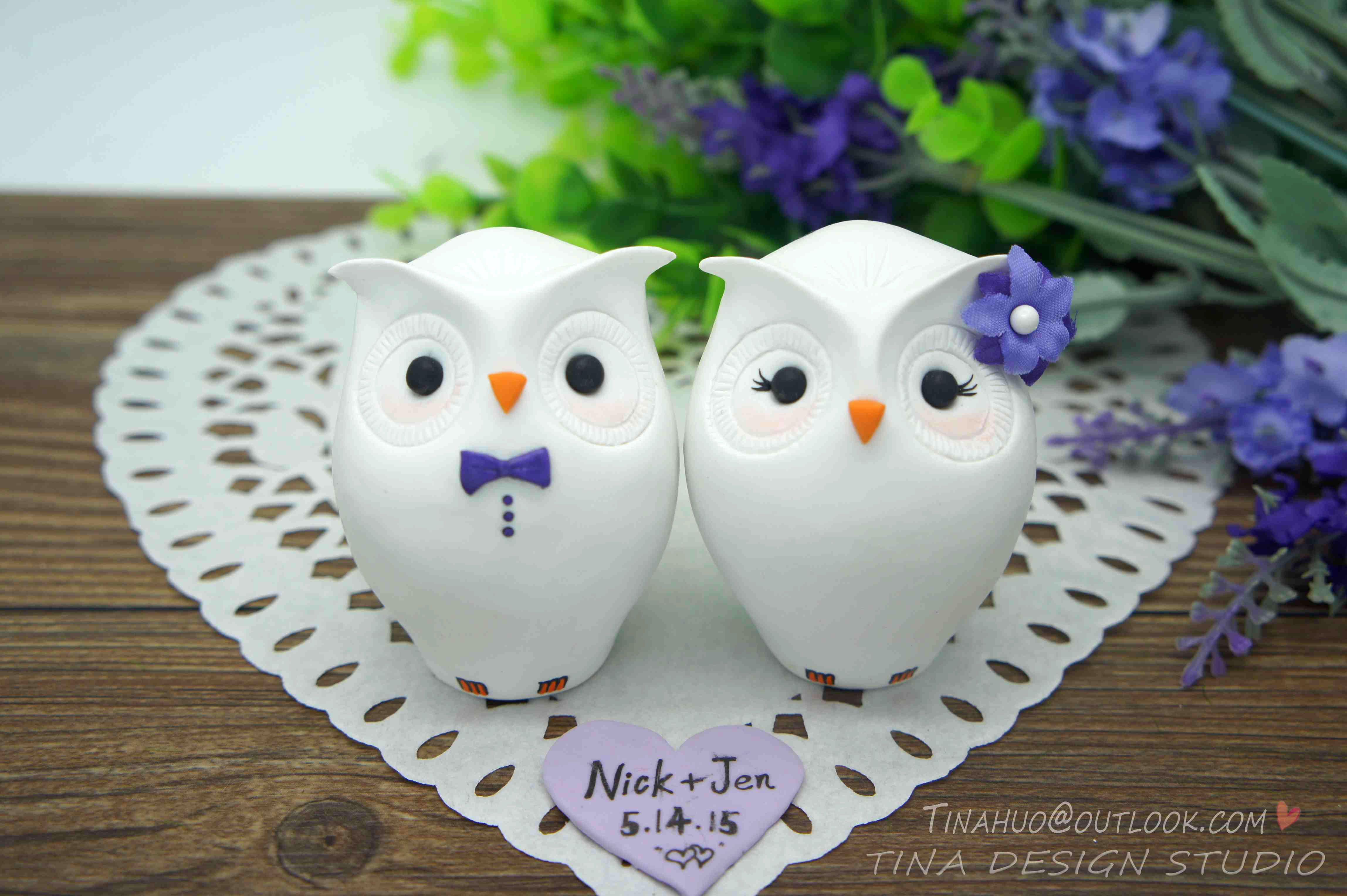 Custom Owl Wedding Cake Toppers Purple Themed- Unique Owl Bride And ...