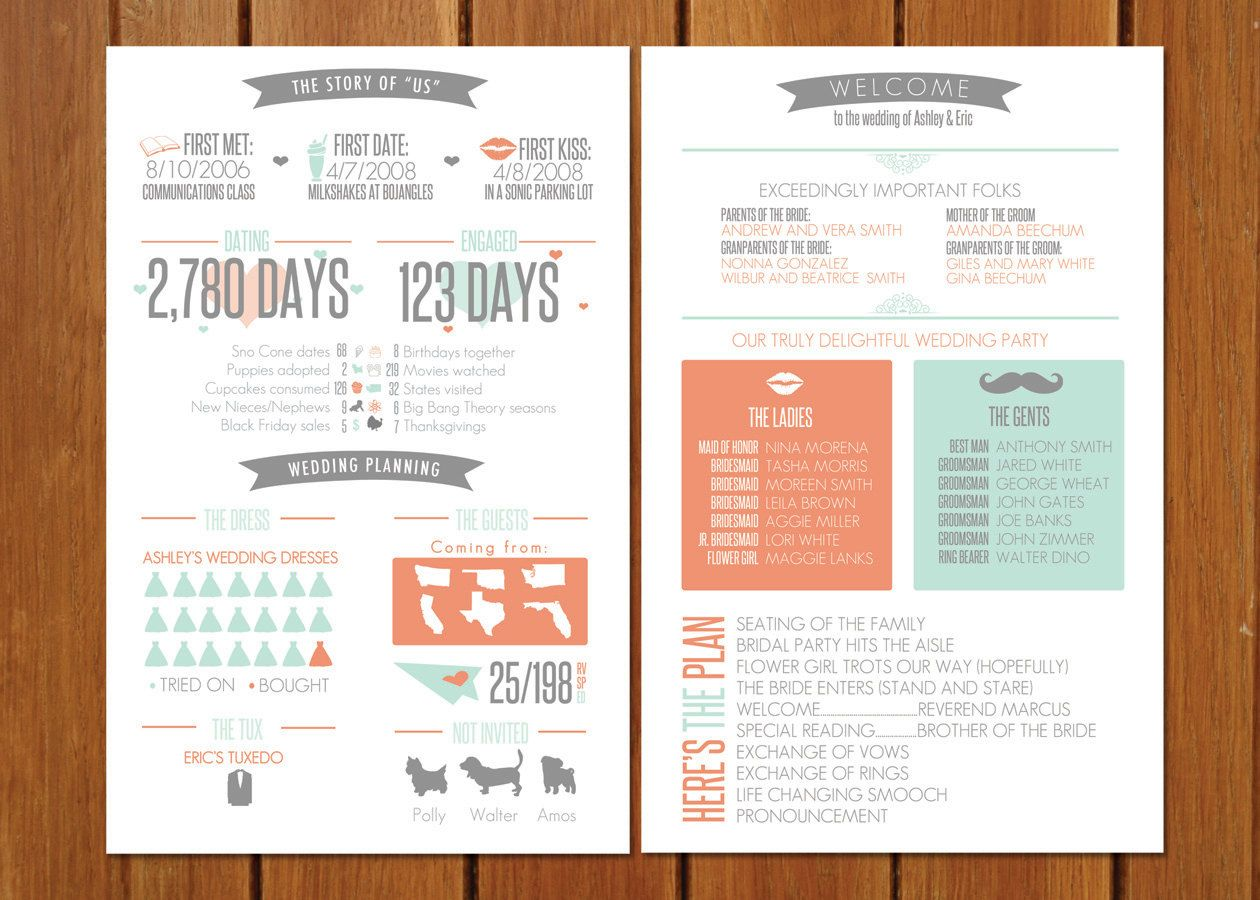 Info Graphic Wedding Program By Bisforbrown On Etsy