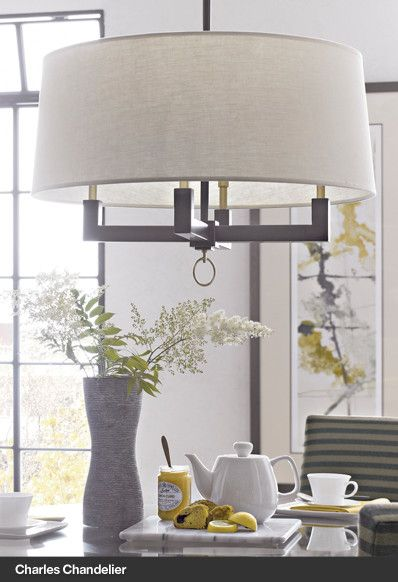 fabulous drum pendant light fixtures living room | $399 Charles Chandelier Drum shape again, but like the ...