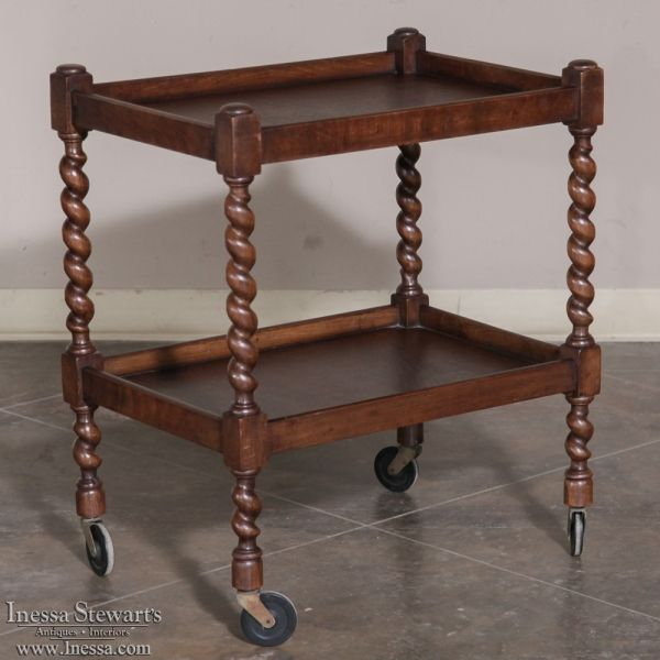 Barley Twist Serving Cart Ca 1920 Furniture British