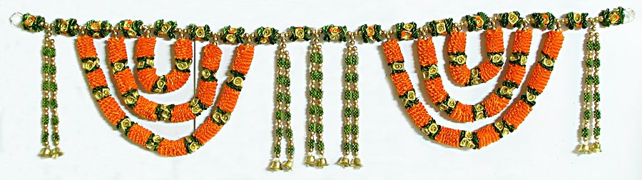 Satin Ribbon Flower Door Toran with Beads and Golden Bell - (Decorative Door Hanging)  sc 1 st  Pinterest : door torans - pezcame.com