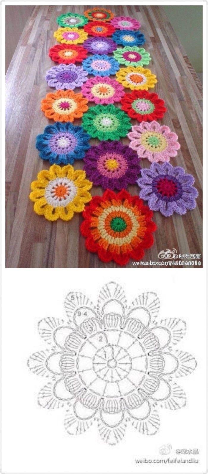 Flower table runner | caballito | Pinterest | Häkeln, Handarbeiten ...
