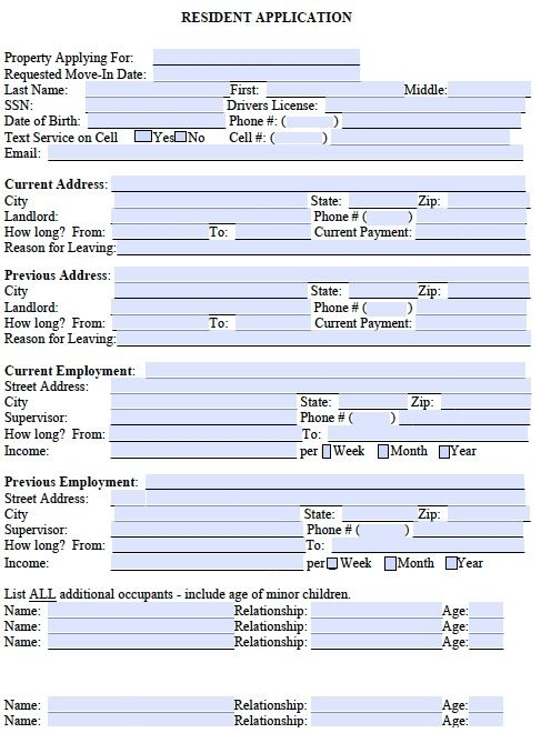 Printable Sample Free Rental Application Form Form | Real Estate ...