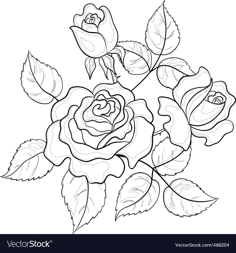 Flowers roses contours vector image on Embroidery