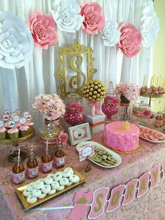 sweets buffet table decor for party in 2019 gold baby showers rh pinterest com candy buffet ideas for baby boy shower candy bar buffet ideas baby shower