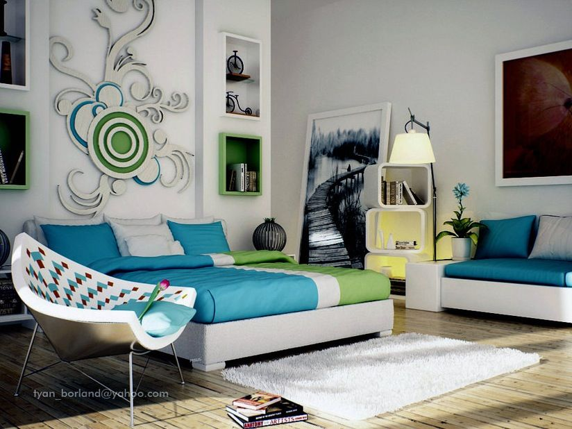 modern and romantic bedroom design ideaswhite blue couch sofa and white black floor lamp - Bedrooms Walls Designs
