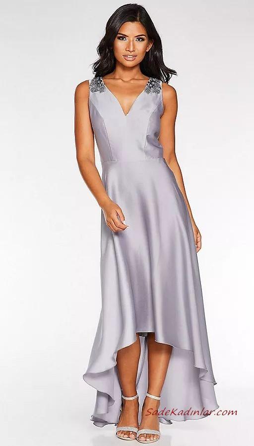 2020 Abiye Elbise Modelleri Gri Saten Onu Kisa Arkasi Uzun Etekli Askili V Yakali The Dress Elbise Modelleri Asimetrik Gelinlik