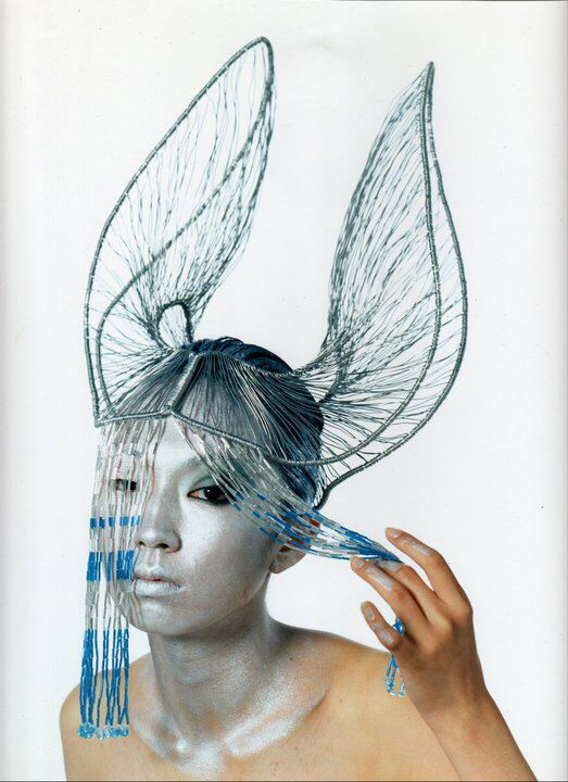 Body Sculpture Silver coloured aluminium wire,with beaded fringe ...