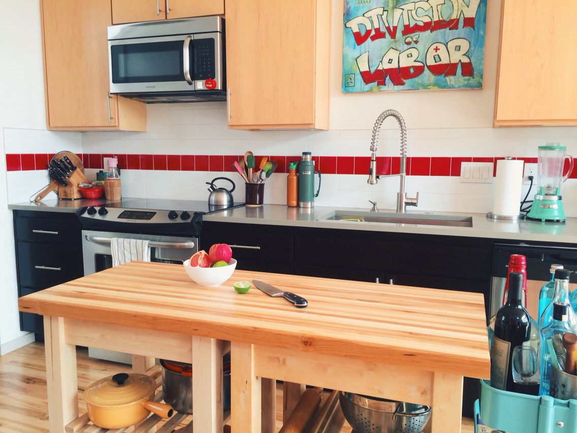 Kitchen island upgrade. Two Ikea Bekvam kitchen carts as the base ...