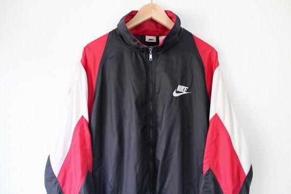 127b5f0517de Vintage 90s Nike Air BIG Swoosh Windbreaker Jacket Size Large Black White  Red