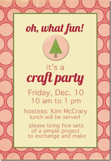 Girls Christmas Craft Party Bring A Craft For 5 To Do And A