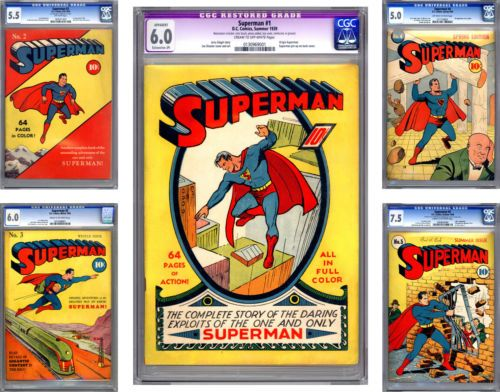 Superman 1 2 3 4 5 Cgc 6 0 The Holy Grail Of All Comics Past Present 1939 Superman Comic Books Superman 1 Superman