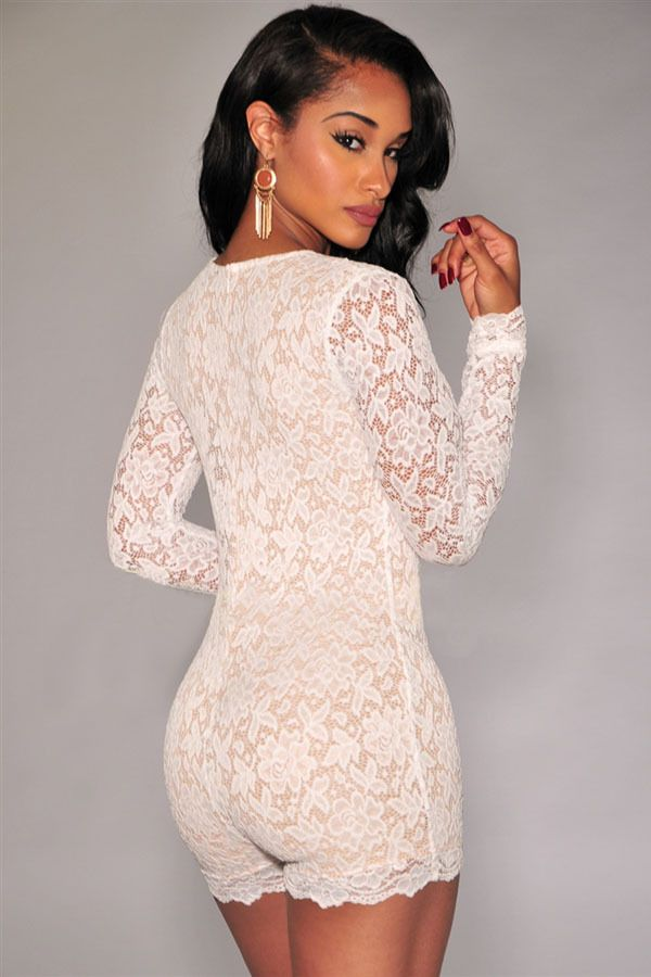 4cf747b3a6 2015 Summer New Sexy bodysuit Short Jumpsuits Long Sleeved White Lace  Romper with Lining LC6951
