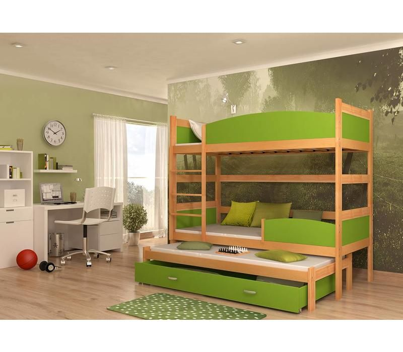 3 Persoons Stapelbed Hout.3 Persoons Stapelbed Tina3 Els Groen Stapelbedden Pinterest