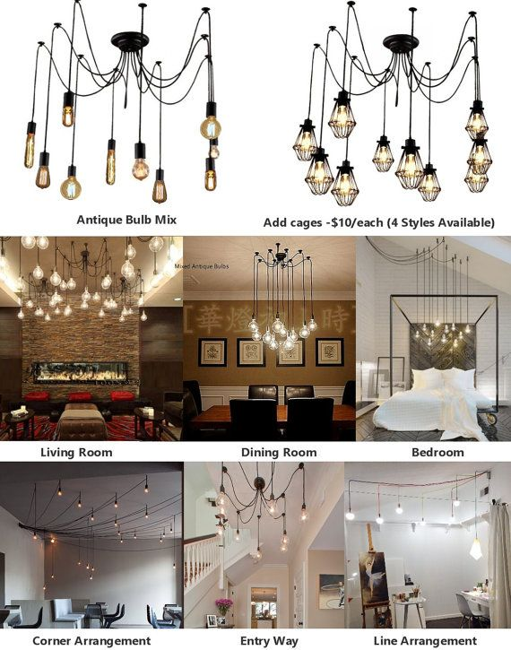 7 Pendant Cluster Light Fixture  CUSTOM made with ANY Cord Colors, Hardware Finishes and ANY LENGTHS See listing pictures for available cord