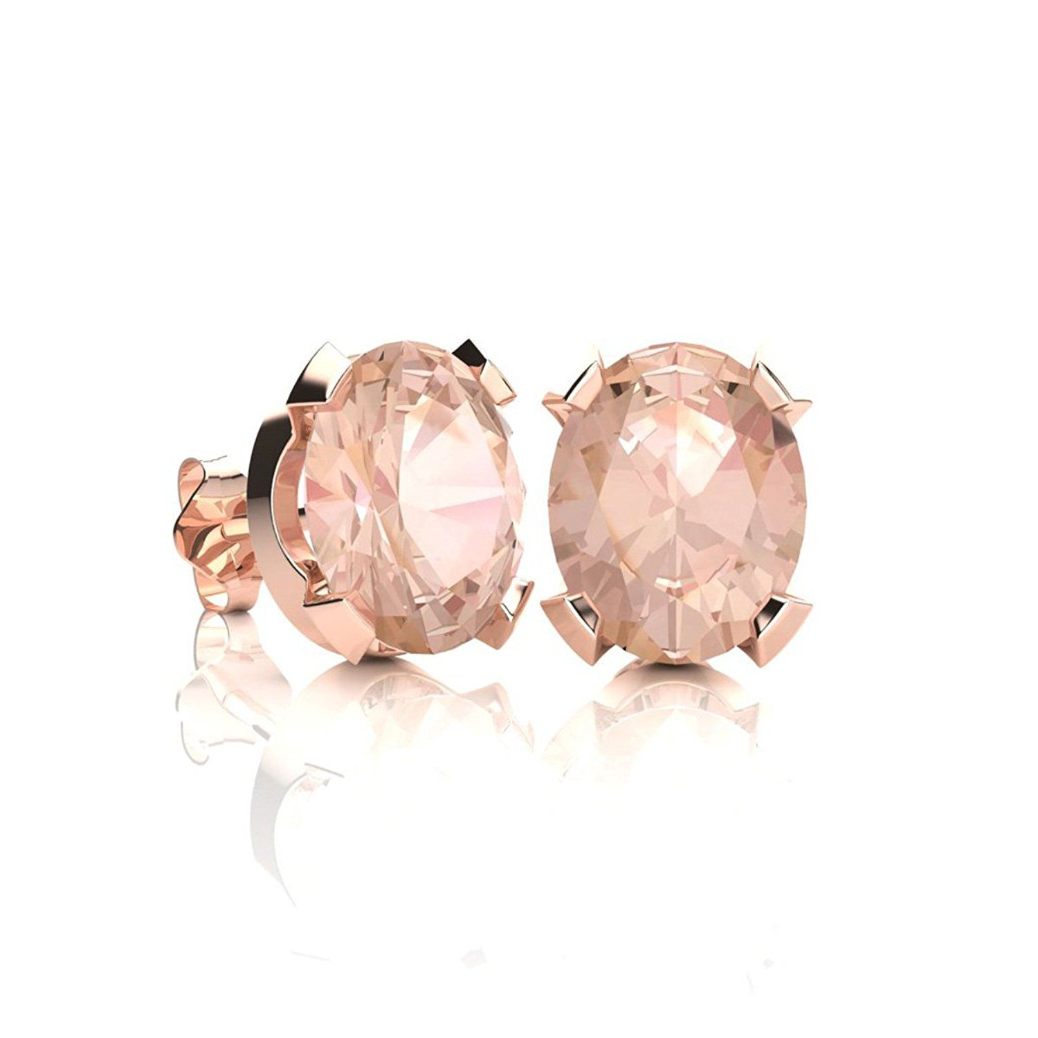 2 Carat Oval Shape Morganite Stud Earrings Available In Yellow Gold