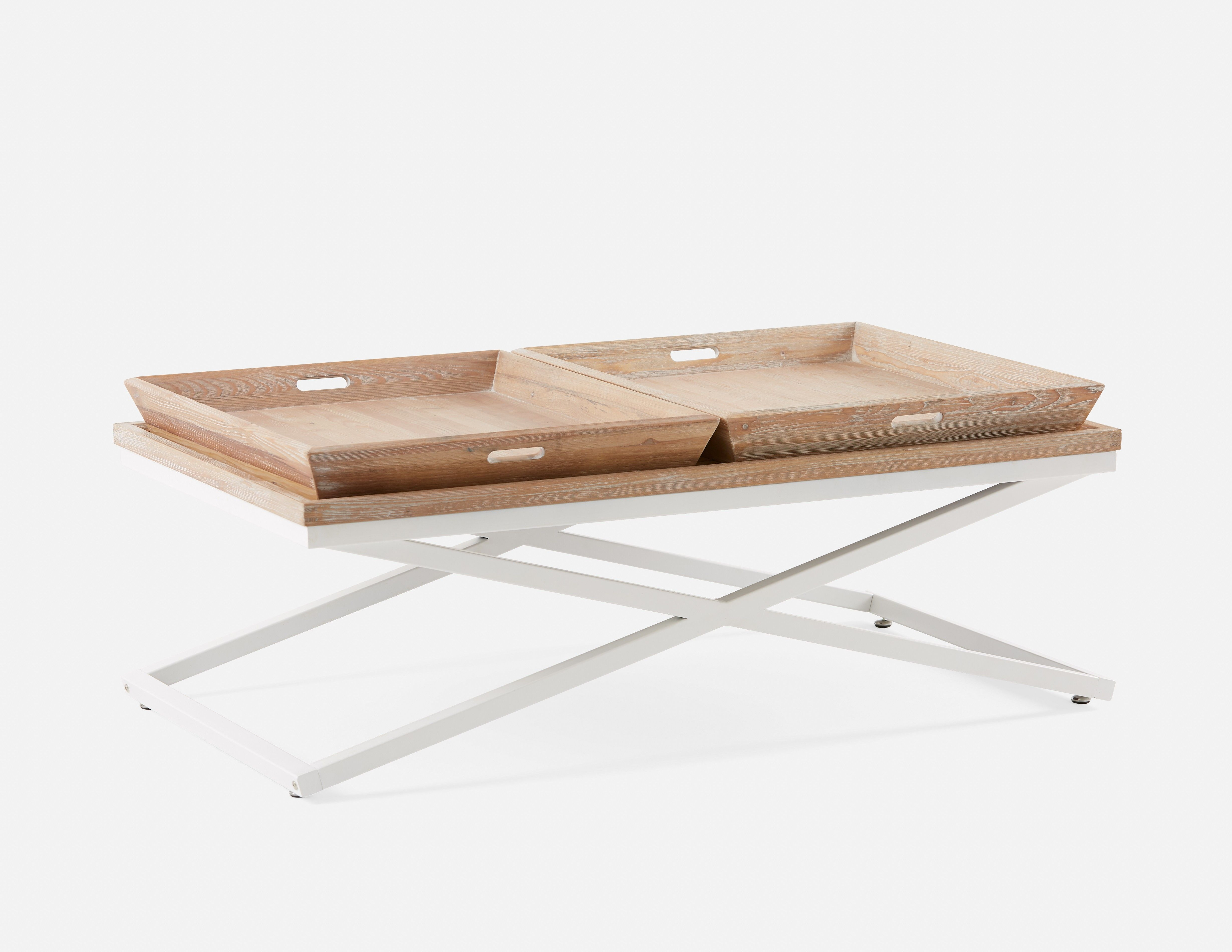 AGNES Coffee Table with Removable Trays White