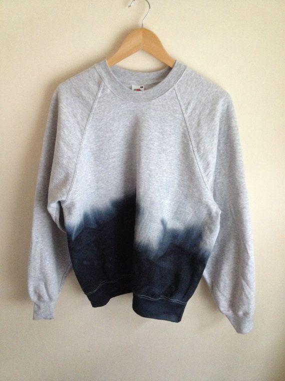9a07abd27c250 Dip dye Tie dye Ombre Black Navy Marl Grey Jumper Sweatshirt ...