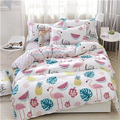 Pink Cartoon Style Family Bedding Set - a10, For 2.0m width bed