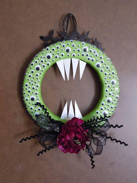 Googly Eye Halloween Wreath Googly Eye Crafts Monster Wreath