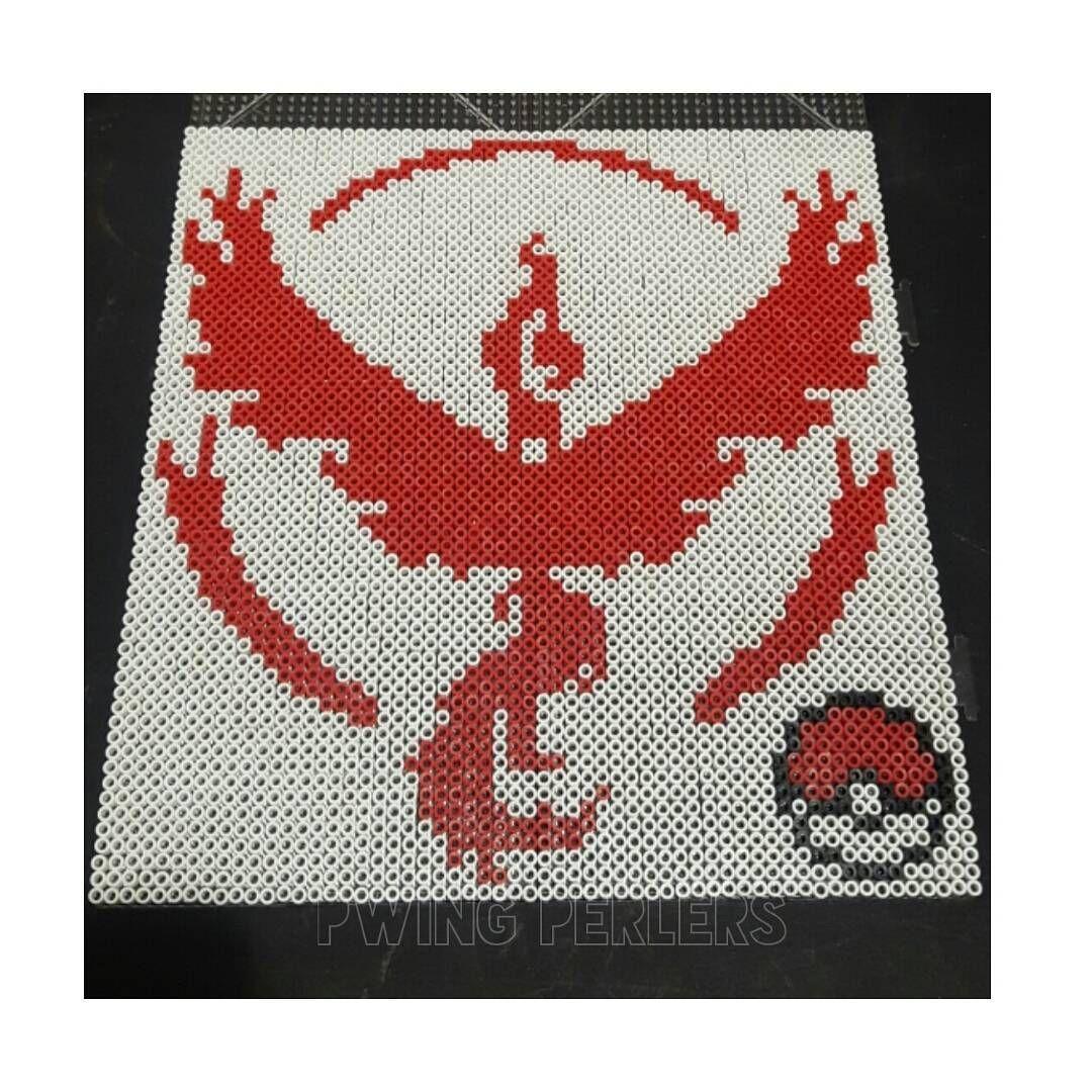 Team Valor Pokemon Go perler beads by pwingperlers