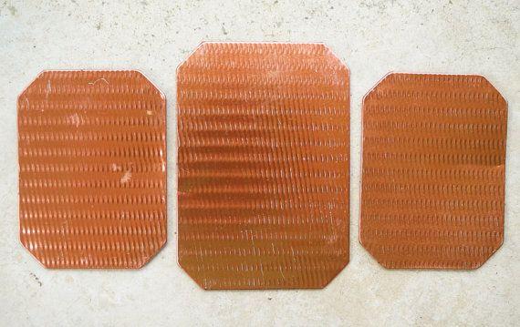 Tin Kitchen Trivets  Hot Pads  Mid Century Copper  by susantique