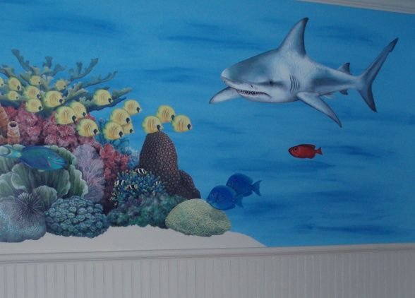 boy rooms shark theme | , fun, boys ocean themed bedroom, wall