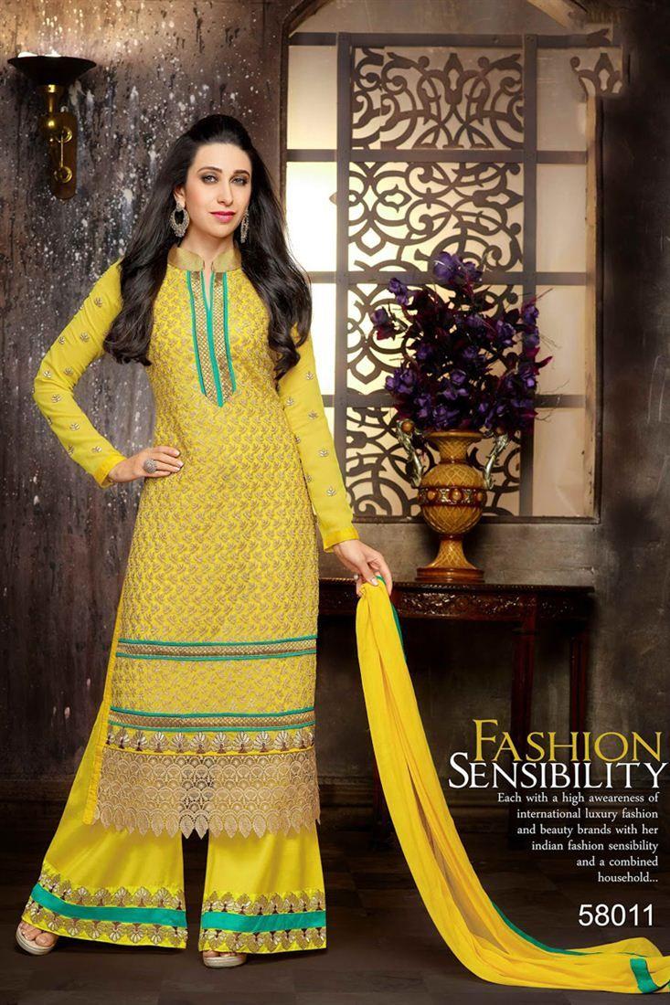 58bf5fc05f Karisma Kapoor Pakistani Style Palazzo Suit | Karisma Kapoor Suits ...