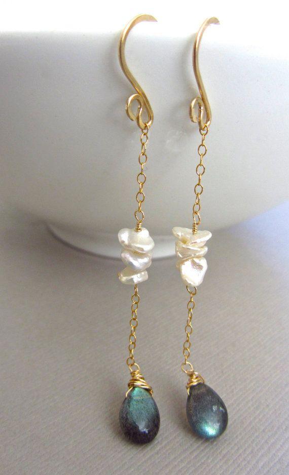 SALE 10 OFF Pearl Labradorite Earrings by JewelryBySonjaBlume