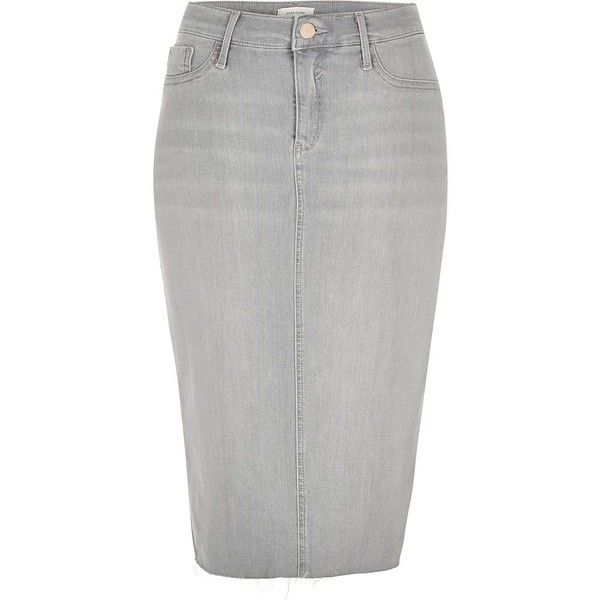 f16652b02 River Island Light grey wash denim pencil skirt featuring polyvore women's  fashion clothing skirts grey midi skirts women fitted pencil skirt knee  length ...
