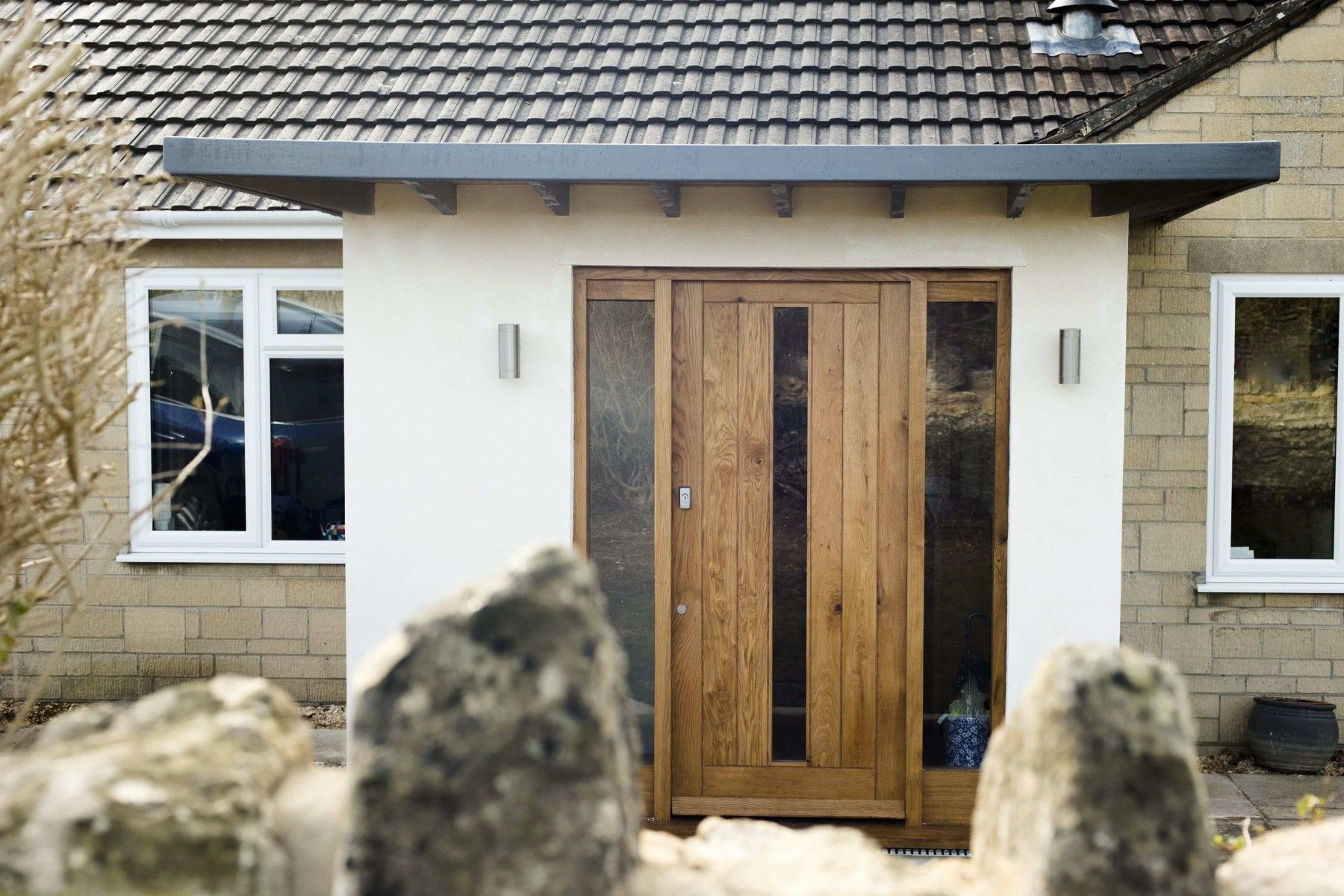 Contemporary Oak And Glass Front Door