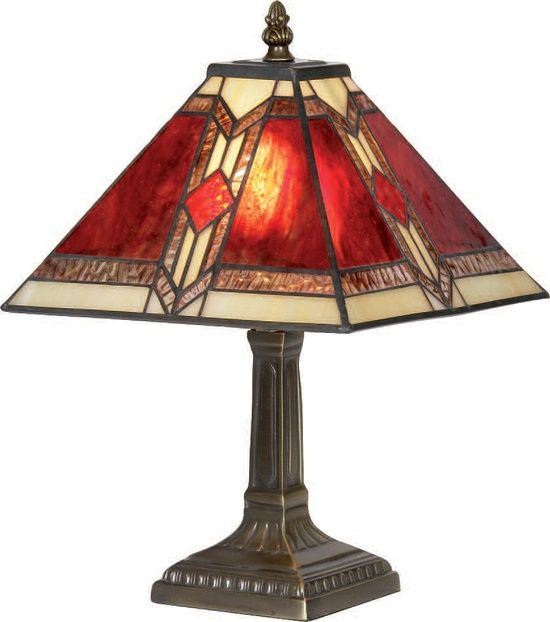 Red Stained Glass Lamp Tiffany Style Art Deco Stained