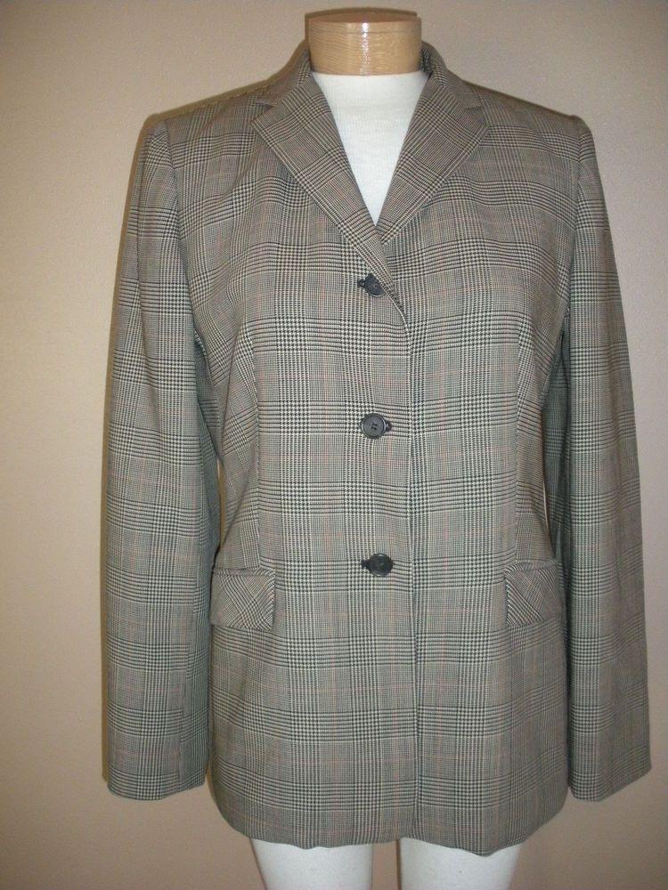 Ann Taylor Plaid Wool Blazer Womens Sz 8 #AnnTaylor #Blazer