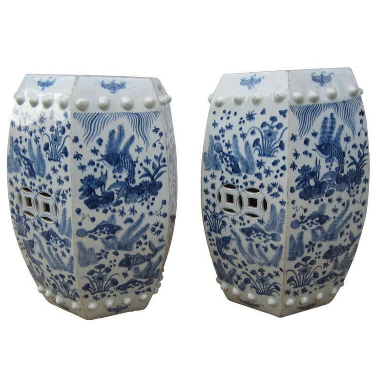 Hexagonal Chinese Blue And White Garden Seat Stool Vintage Furniture For Sale Blue And White Garden Seating
