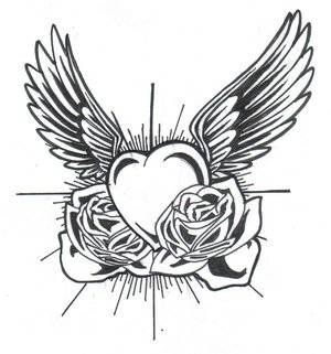 Rose And Heart Drawing With Images Heart With Wings Tattoo