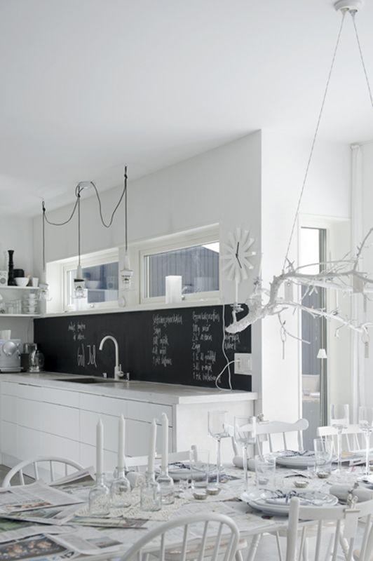White kitchen & love the blackboard.
