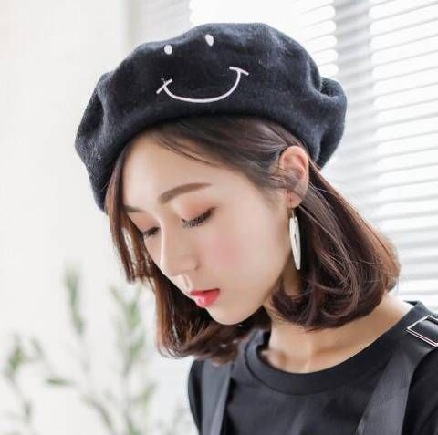c90dd2a67 Emoji smile french beret hat with embroidery for women winter wool ...
