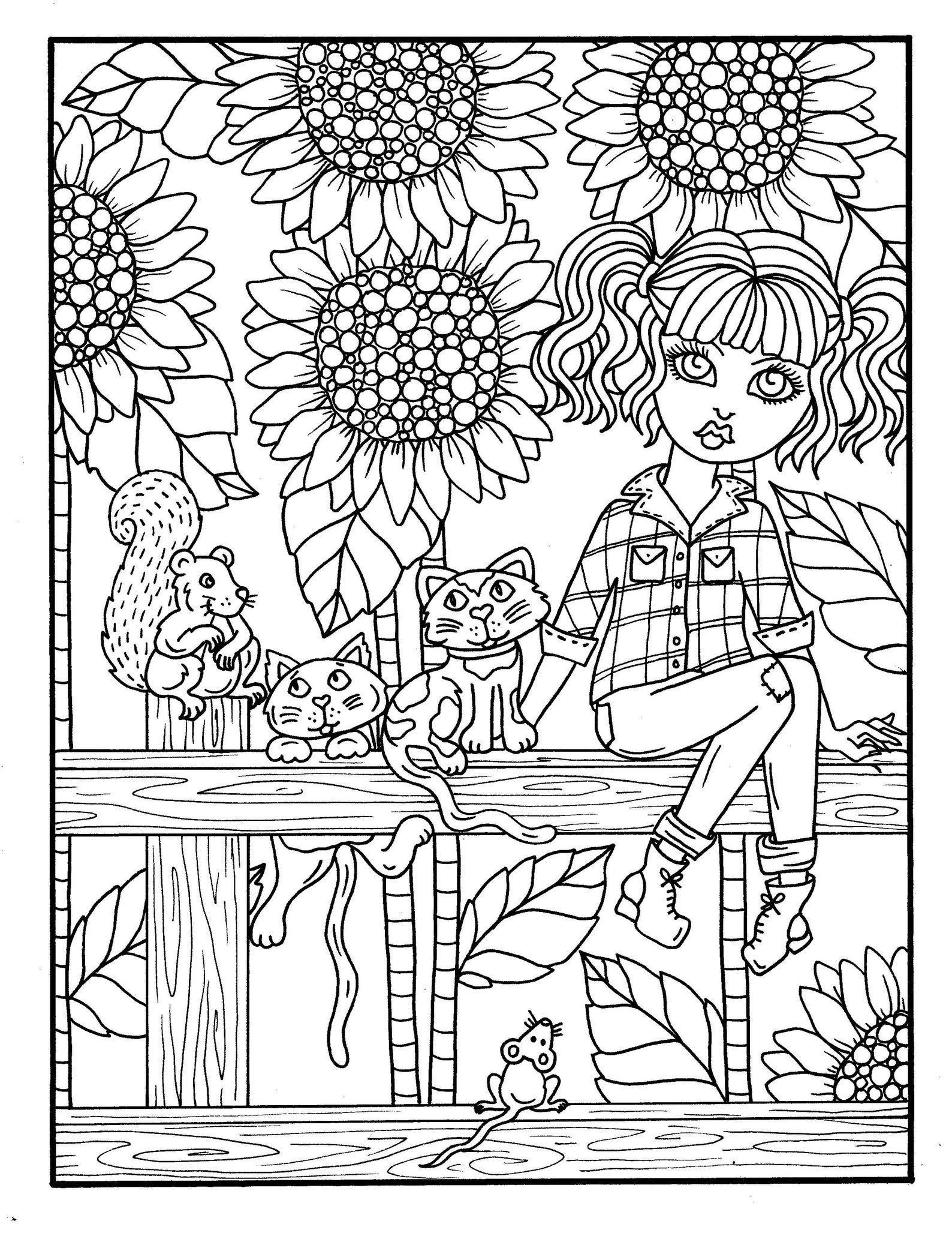 Fall Friends Digital Coloring Book Fun Fall Girls And