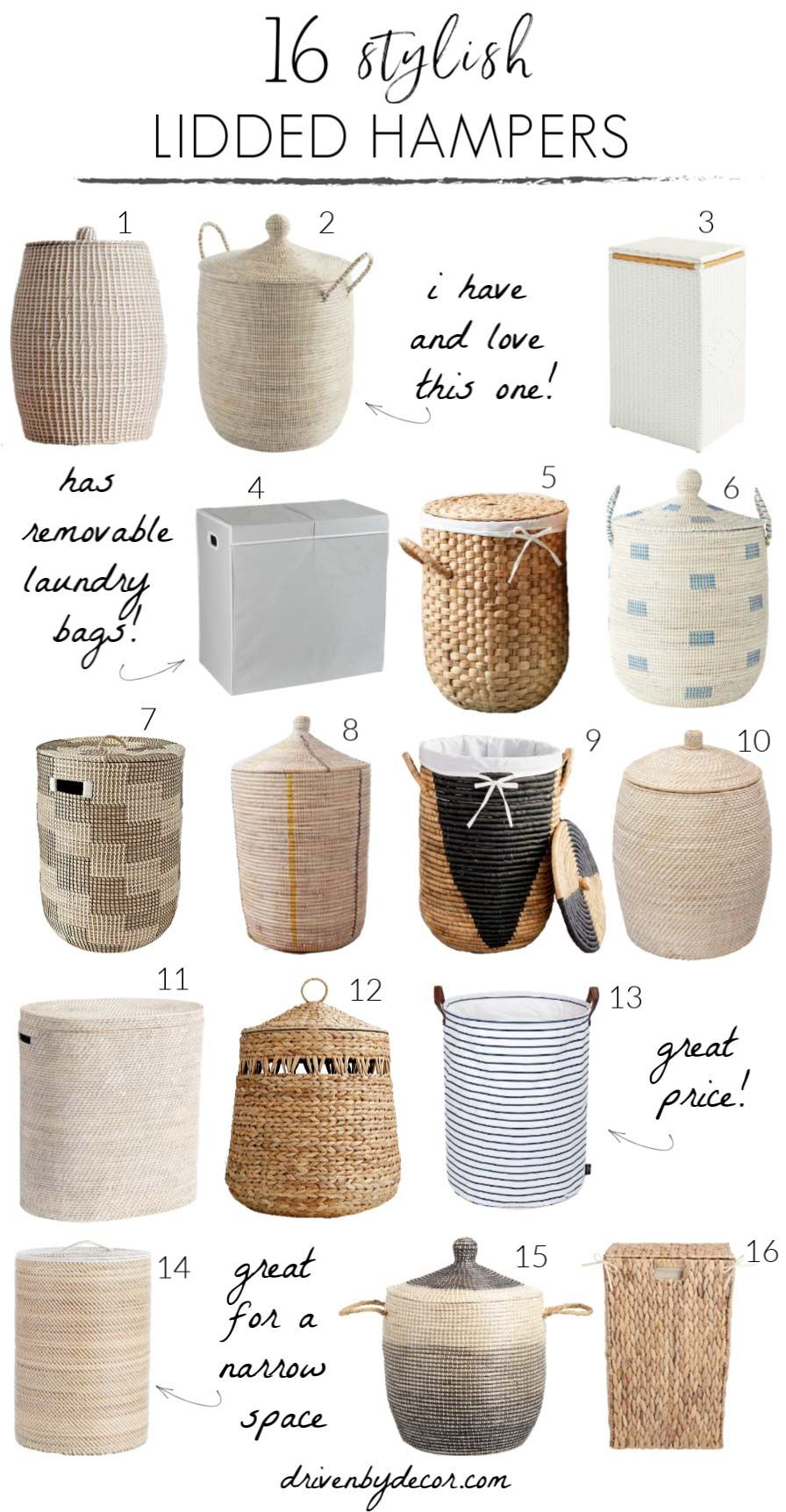 Love all of these lidded hampers! So may beautiful bathroom decor ideas in her post!