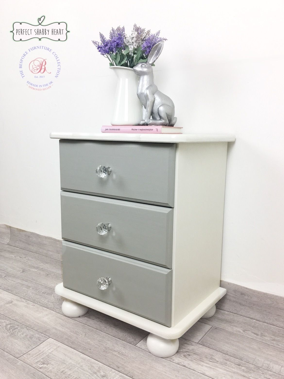 Shabby Chic Bedside Cabinet White And Grey