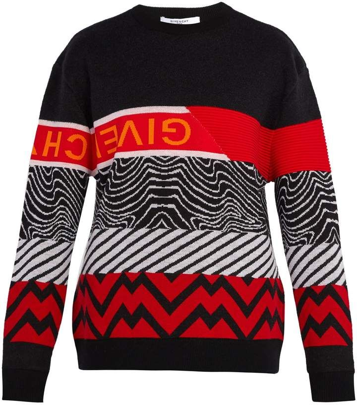 Patterned Intarsia Wool Blend Sweater Givenchy Matchesfashion Us Givenchy Sweater Sweaters Pattern Mixing