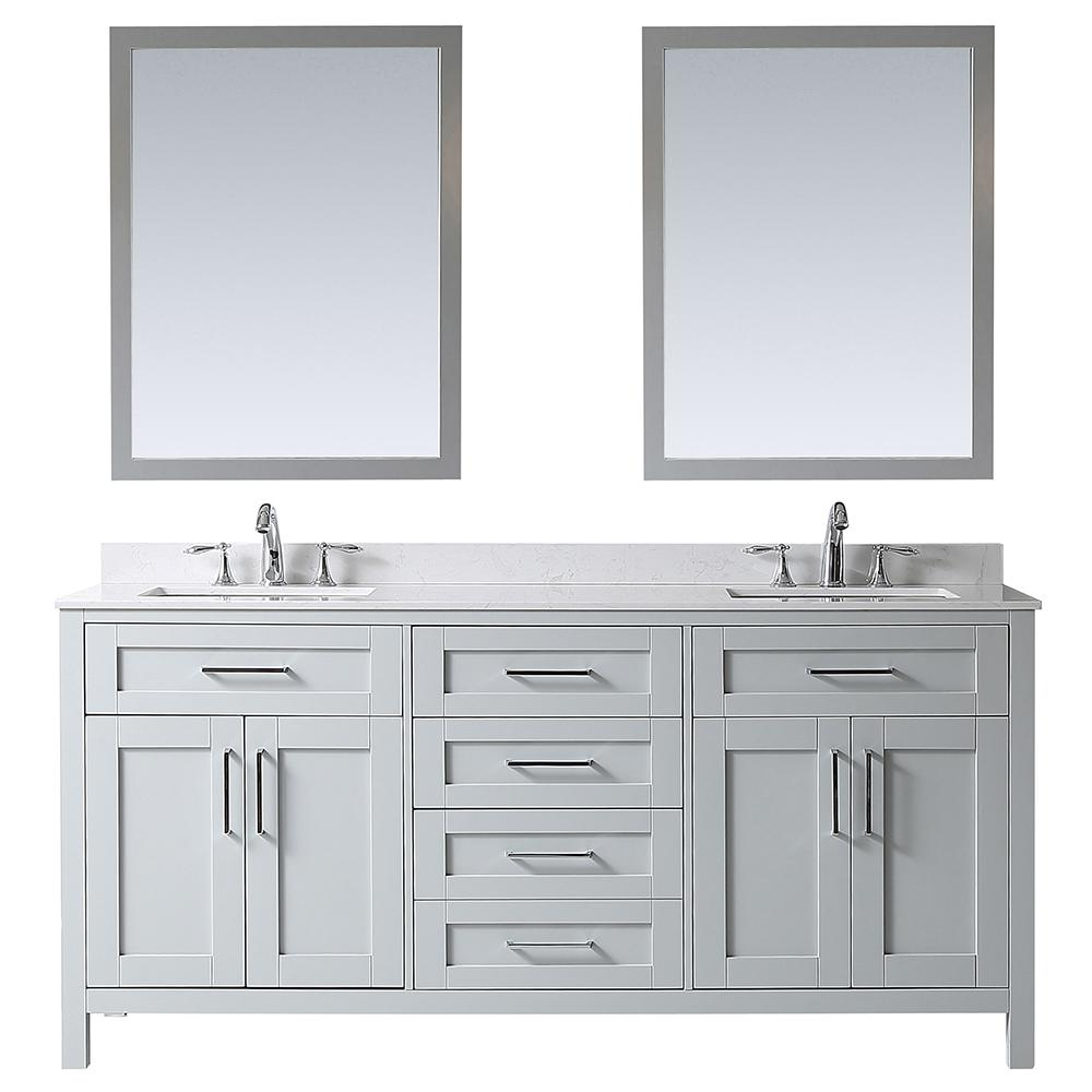 Ove Decors Ove Tahoe 72 In W Vanity In Dove Grey With Cultured