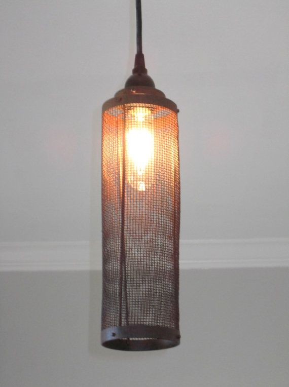 Industrial Pendant Lighting- Wire Mesh- vintage, rustic, ceiling ...