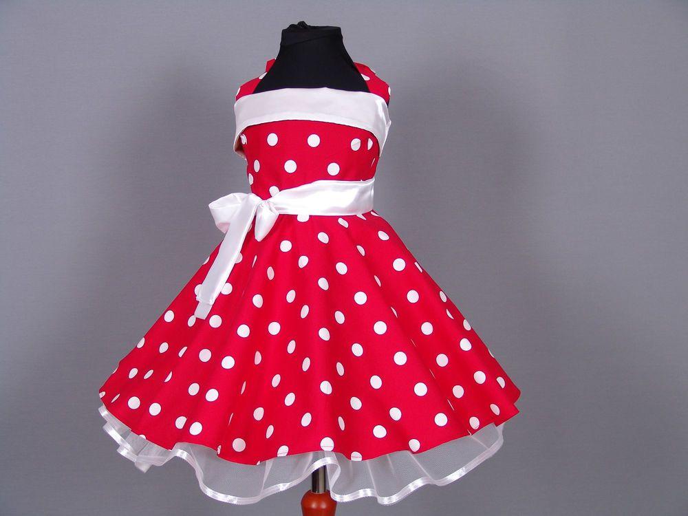 Mädchen Rockabilly 50-er Tanz Petticoat Kleid Gr.104;110; 116;120 ...